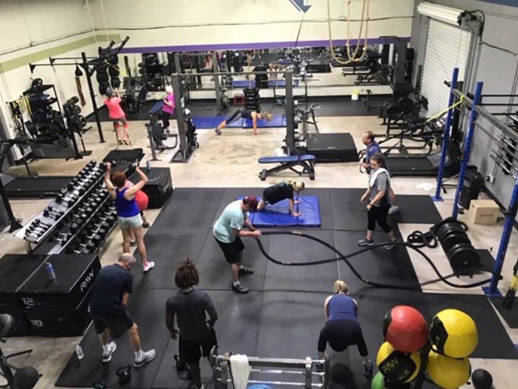 Rope training on gym floor