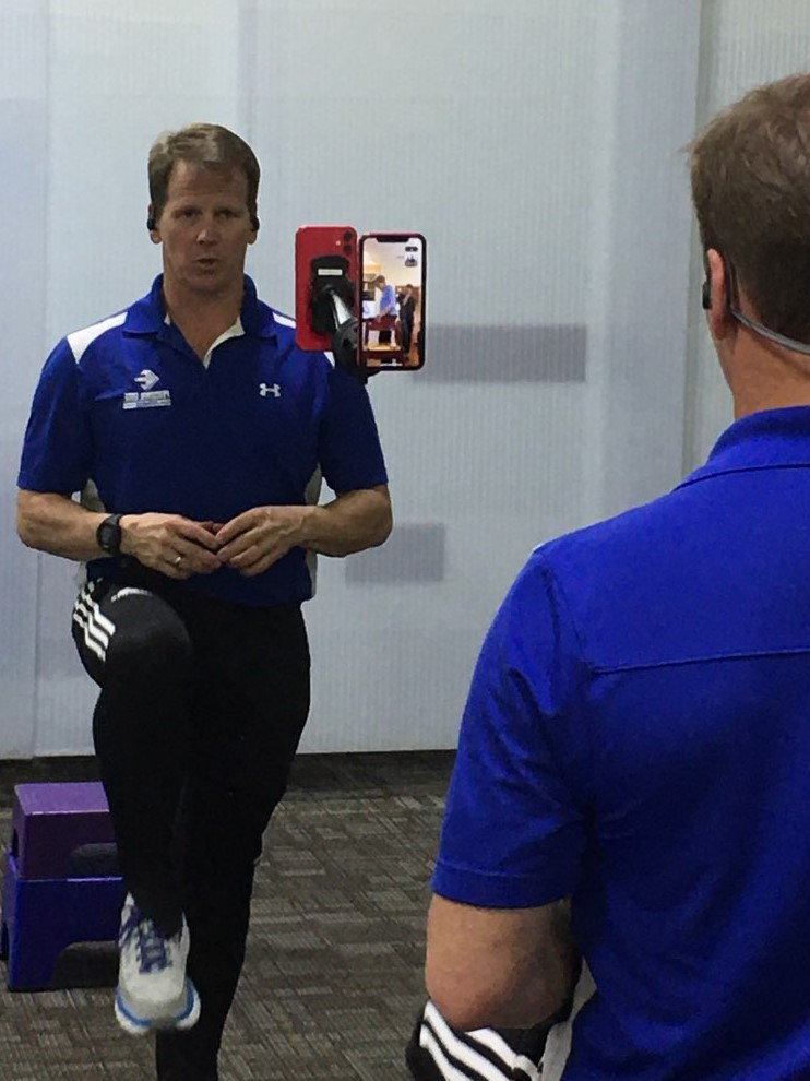 Garrett coaching a virtual training session