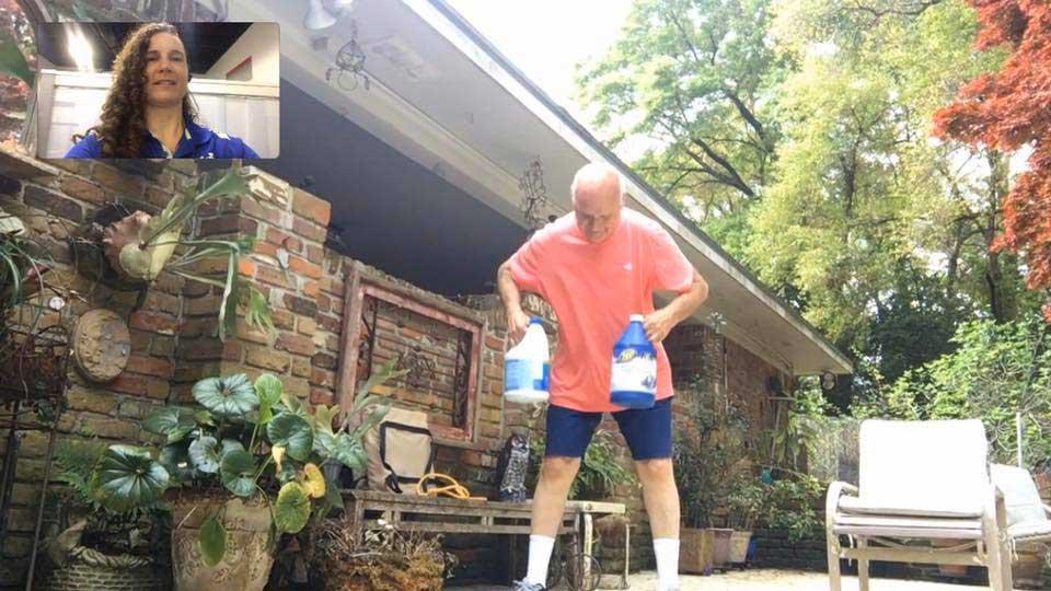 A man is home training through Presonal Edge Fitness