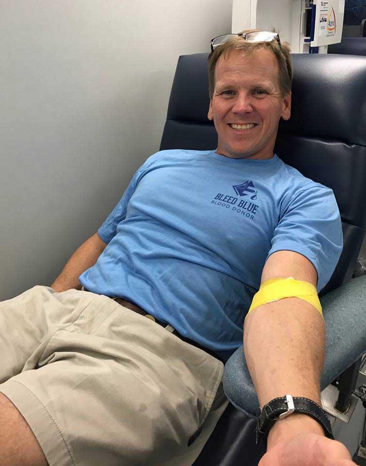 Garrett giving blood at Lifesouth